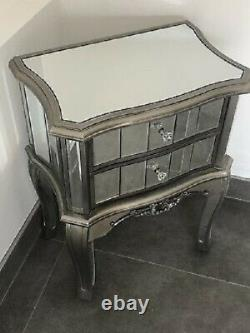 Mirrored Argente French Style Bedroom Bedside Drawers Antique Silver X 2