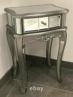 Mirrored Argente French Style Bedroom Living Room Tall Bedside Table End Table
