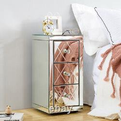 Mirrored Bedroom Bedside Table Crystal Side 3 Drawer Storage Cabinet Nightstand