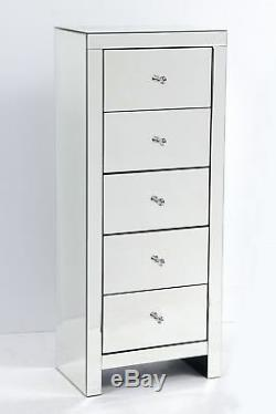 Mirrored Bedroom Furniture Chest of 5 Drawers Tallboy Tall Narrow Venetian