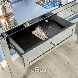 Mirrored Bedroom Furniture Dressing Table 2 Drawer Vanity Table Dresser Valencia