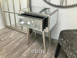 Mirrored Bedside Chest Cabinet 1 Drawer Glass Bedroom Table Venetian Night Stand