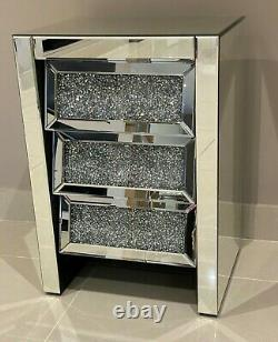 Mirrored Bedside Chest of Drawers Crushed Diamond Mirrored Bedroom Furniture