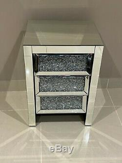 Mirrored Bedside Chest of Drawers Mirrored Bedroom Furniture Diamond Crystal
