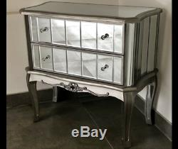 Mirrored Chest of Drawers French Style Argente Mirrored Bedroom Furniture