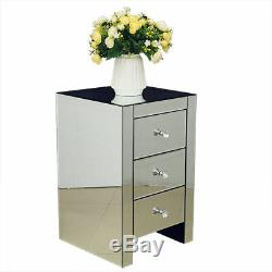 Mirrored Crystal Glass 3 Drawers Bedside Cabinet Table Bedroom Nightstand UK