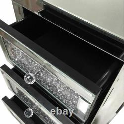 Mirrored Crystal Style Bedroom Glass Chest of 3Drawers Bedside Cabinet Table UK