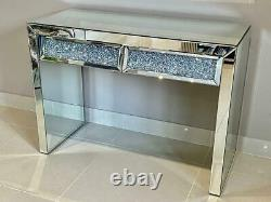 Mirrored Dressing Table with Drawers Crushed Diamond Mirrored Bedroom Furniture