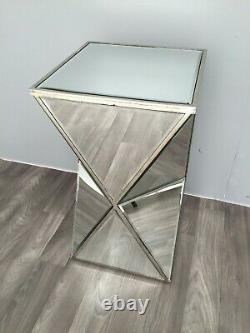 Mirrored End Table Side Furniture Home Decor Venetian Bedside Bedroom Glass