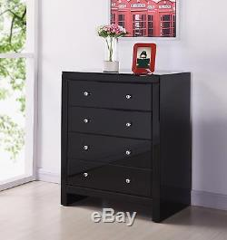 Mirrored Furniture 4 Drawers Chest Bedroom Home New Stylish Big Storage Space
