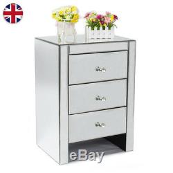 Mirrored Furniture Glass Bedside With 3 Drawers Cabinet Table Bedroom UK