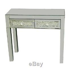 Mirrored Furniture Glass Dressing Table With 2 Drawers / Console Bedroom Stool