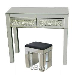Mirrored Furniture Glass Dressing Table With Drawers Console Bedroom Stool