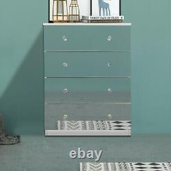 Mirrored Furniture Sideboard Glass Door Cabinet Chest of 4 Drawers Bedroom