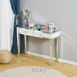 Mirrored Glass 2 Drawers Dressing Table Beauty Makeup Desk Bedroom Furniture UK