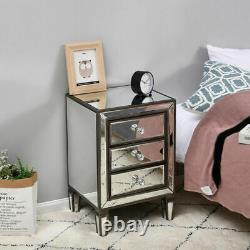 Mirrored Glass Bedroom Bedside Table Nightstand Chest 1,3 Drawers Units Cabinet