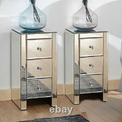 Mirrored Glass Bedside Cabinets Tables Crystal Chest Nightstand Bedroom Drawers