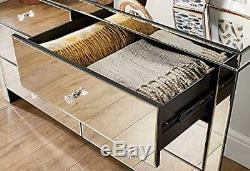 Mirrored Glass Chest of 6 Storage Drawers Sideboard Bedroom Cabinet Furniture