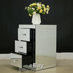 Mirrored Glass Chest of Drawers Bedside Table Venetian Bedroom Cabinet Furniture