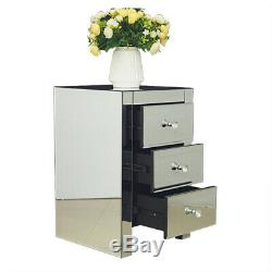 Mirrored Glass Furniture Bedside Table Cabinet With 3 Drawers Bedroom NightStand