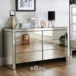Mirrored Glass Set 6 Drawer Chest of Drawers Cabinet + 2 night chests Bedroom