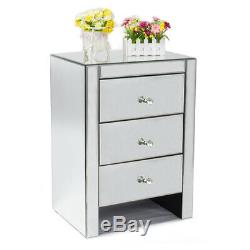 Mirrored Home Furniture Glass Bedside Cabinet Bedroom 3 Drawers Bedroom Table