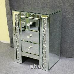 Mirrored Mirror Bedside Bed Side Table Cabinet 3 Draws Bedroom Cabinet