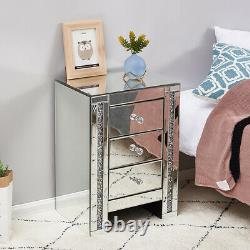 Mirrored Nightstand Glass Chest of 3 Drawers Bedroom Bedside Table WithDiamond UK
