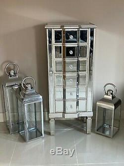 Mirrored Tallboy Venetian Bedroom Furniture Chest of Drawers Champagne Silver