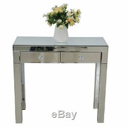 Mirrored Two Drawers Dressing Table Bedroom Console Vanity Make-up Desk uk