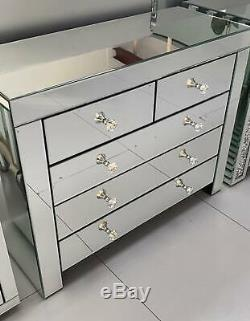 Mirrored Venetian Large 5 3 + 2 Drawer Chest Of Drawers Bedroom Crystal Handles