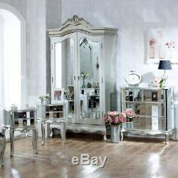 Mirrored furniture set wardrobe chest bedsides bedroom furniture silver shabby