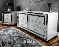 Mirrored white glass 6 drawer chest of drawers / sideboard, bedroom, living room