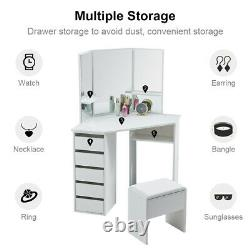 Modern Corner dressing table White Desk Bedroom with Stool Mirror Drawers Wooden