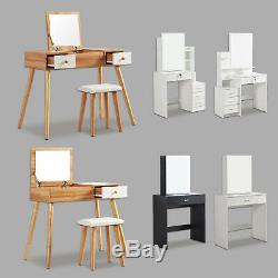 Modern Dressing Table Jewelry Makeup Desk with Mirror & Drawer 6 Styles Bedroom