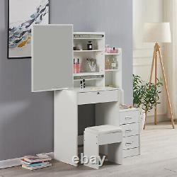 Modern Dressing Table Makeup Jewelry Desk withSliding Mirror Drawer White Bedroom
