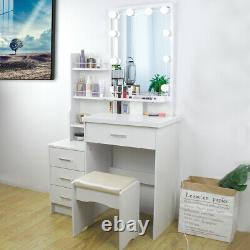 Modern Dressing Table Set Stool Bedroom Makeup Desk With Mirror & 4 Drawers White