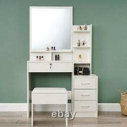 Modern Dressing Table Stool Makeup Desk Vanity Set with Mirror & Drawer Bedroom UK