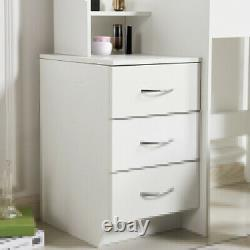 Modern Dressing Table Stool Set Makeup Desk with Mirror 4 Drawers Bedroom White