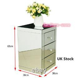Modern Furniture Mirrored Glass 3 Drawers Bedside Cabinet Table Bedroom