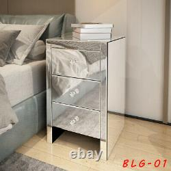 Modern Mirrored Glass 3 Drawer Bedside Cabinet Table Bedroom Furniture Home