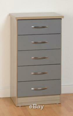 Nevada Grey Gloss/Light Oak Effect Veneer Bedroom Furniture Range Chest Bedside