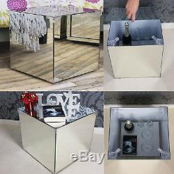 New Coffee Table Glass Living Room Bedroom Storage Shelf Contemporary Mirrored