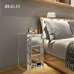 New Furniture Mirrored Glass Bedside Cabinet Table With Drawers Bedroom Home