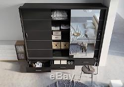 New Modern Bedroom Set Sliding Door Wardrobe 250, Chest, Bedside ARTI 1 in Black