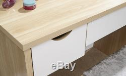 Oak White Dressing Table Set with Stool and Mirror 3 Drawer Bedroom Furniture