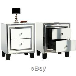 Pair Bedroom Dressing Bedside Table 2 Drawer Mirrored Glass Cabinet Tables White