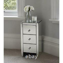 Pair Mirrored Bedroom Bedside Table Unit Cabinet Nightstand with 3 Drawers
