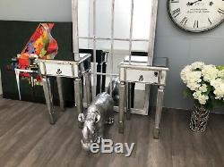 Pair Mirrored Bedside Tables Glass Cabinet Nightstand Bedroom Storage