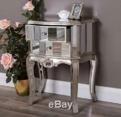 Pair Of Silver Mirrored Bedside Table Chest Venetian Bedroom Furniture Glass